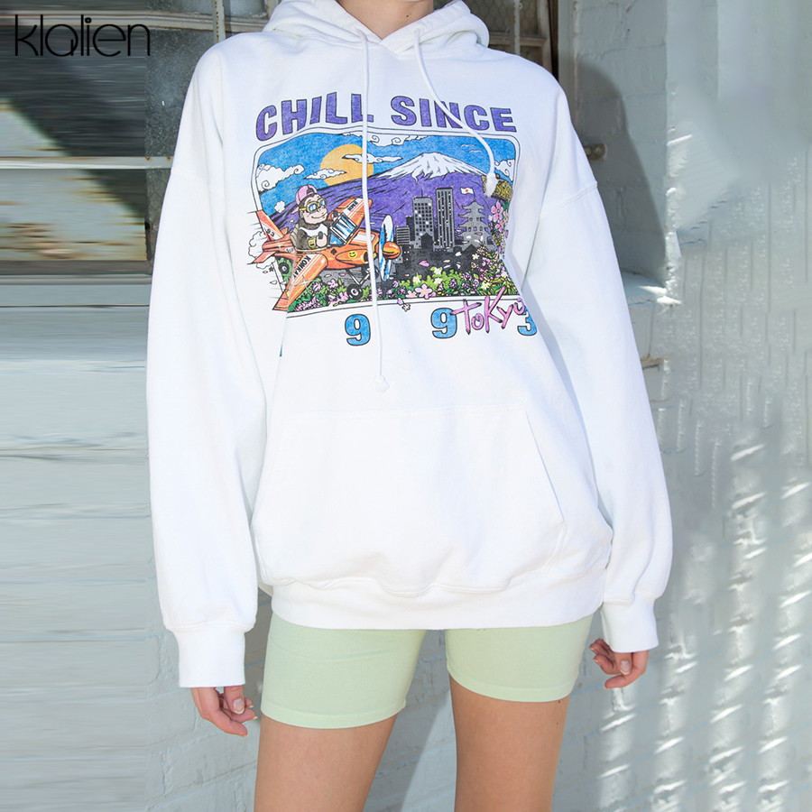KLALIEN Drawstring Hooded Sweatshirt Personalized Print Hip Hop Street Pullover 2019 Hot Selling Fashion Casual Loose Nice Top