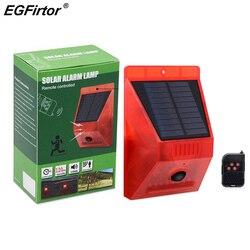 Lâmpada de alarme solar controle remoto alarme segurança sensor movimento alarme sirene pir sensor movimento detector para casa quintal ao ar livre
