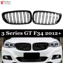 1Pair ABS Glossy Black Front Kidney Grille For BMW 3 Series GT F34 2012-2019 2-slat/1-slat Gloss Black Front Bumper Grille Cover for bmw 3 series f34 gt 2012 2019 rubber floor mats into saloon 5 pcs set seintex 86535
