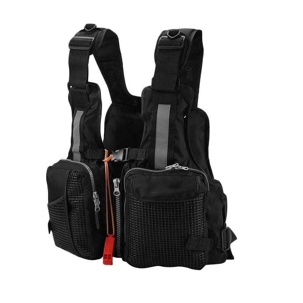 Fishing Swimming Canoe Kayak Boating Life Jacket Adults Mesh Accessories Adjustable Vest Drifting Zipper Multi Pocket Rafting