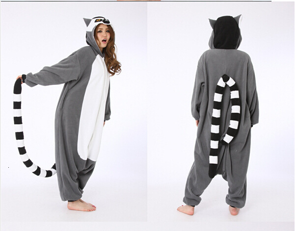 Kigurumi New Lemur Long Tail Monkey Adult Onesie Unisex Pajamas Halloween Christmas Party Costumes