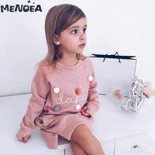 Menoea Girls Dresses Fashion New Spring Autumn Kids Dress Cute Long Sleeve Princess Girl Clothes For 2-7Y Children Party Dress fhadst new striped patchwork character girl dresses long sleeve cute mouse children clothing kids girls dress denim kids clothes