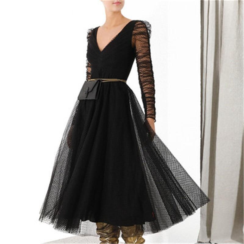 Hiver automne col en V Sexy longue robe élégante à manches longues fille noir à pois robe Vintage Boho une ligne femmes Maxi robes