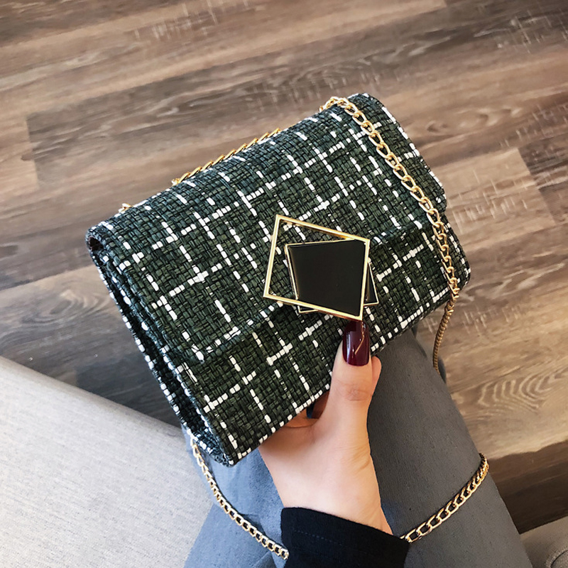 Chain Plaid Cross Body Bag For Women 2019 Fashion Messenger Bags Simple Wool Hasp Small Shoulder Bag Women Flap Bags Handbag