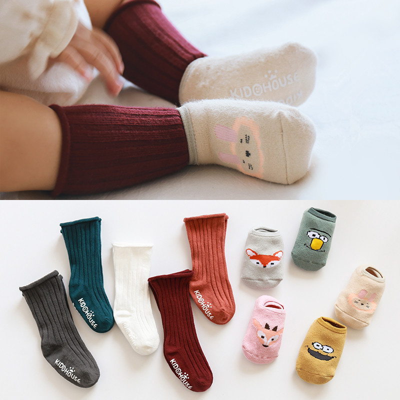 2 Pairs Knee High Baby Socks Newborn Socks Girls Cotton Cartoon Infant Baby Boys Socks Anti Slip Casual Winter Baby Leg Warmers