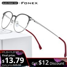 FONEX Hợp Kim Kính Gọng Nam Siêu Nhẹ Nữ Vintage Tròn Đơn Thuốc Kính Mắt Retro Gọng kính Screwless Kính Mắt 988