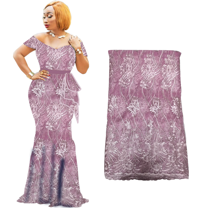 Latest African Lace Fabric 2019 Tulle Lace Fabric With Beads African Nigerian Lace Fabric 2019 High Quality Lace