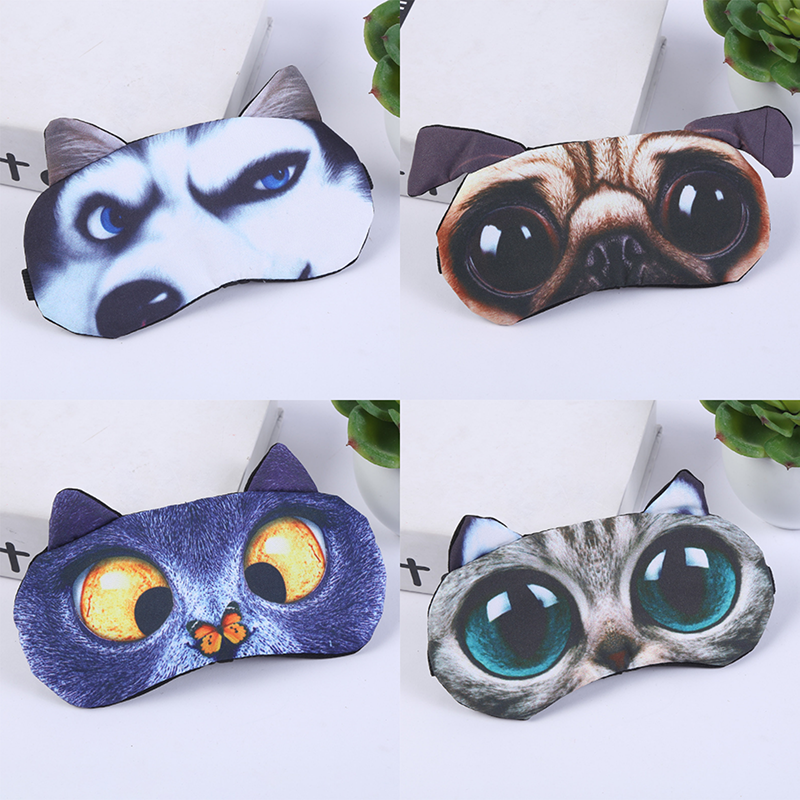 Eye Mask Eyeshade Cover Shade Natural Sleeping Eye Patch Cute Cat Dog Sleep Mask Women Men Soft  Blindfold Travel Eyepatch