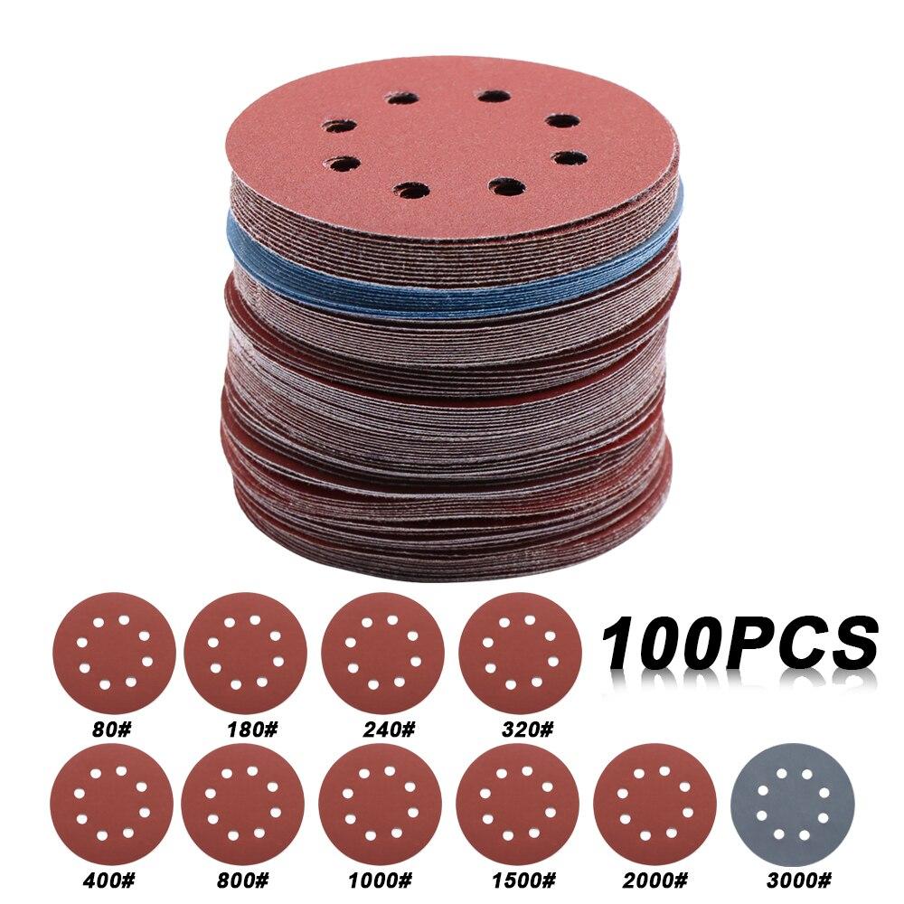 100 шт. 5 дюймов 125 мм круглая наждачная бумага 8 отверстий диск наждачные листы зернистость 80-3000 крючок и петля шлифовальные диски абразивные ...