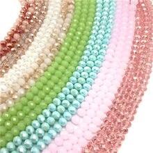 Contas de vidro facetados para roda, 3x 4mm/4x 6mm/6x8mm produção de joias, acessórios de joias diy