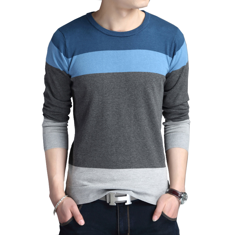 BROWON Men Brand Sweater Autumn Sport Sweaters  Sweater Leisure Pullover Long Sleeves Male Sweater Striped Slim Fit Sweaters Men
