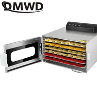 DMWD 6 Trays Stainless Steel Food Dehydrator Fruit Vegetable Dehydration Air Dryer Snacks Meat Herb Drying Machine 110V 220V