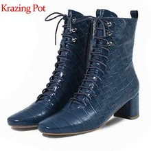 Krazing pot cow leather round toe thick high heels prints skin mid-calf boots cozy runway lace up gladiator Chelsea boots l18(China)