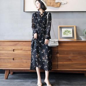 Image 1 - 2020 długie kobiety sukienka wiosna eleganckie Balck sukienki w kwiaty linia elastyczna talia szyfonowa luźna długość kostki damska sukienka