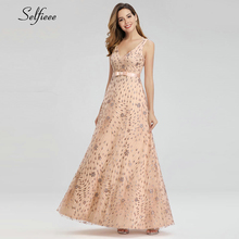 Sparkle Rose Gold Summer Dresses A-Line V-Neck Sleeveless Bow Sashes Sexy Maxi Woman Party Night Gowns Robe Femme 2019