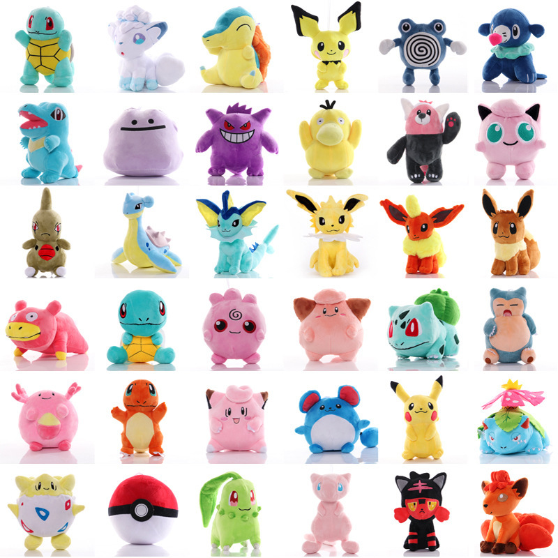 41 stil Pokemoned peluş bebek Pikachued doldurulmuş oyuncak Charmander Squirtle Bulbasaur Jigglypuff Eevee Snorlax Lapras çocuklar hediye