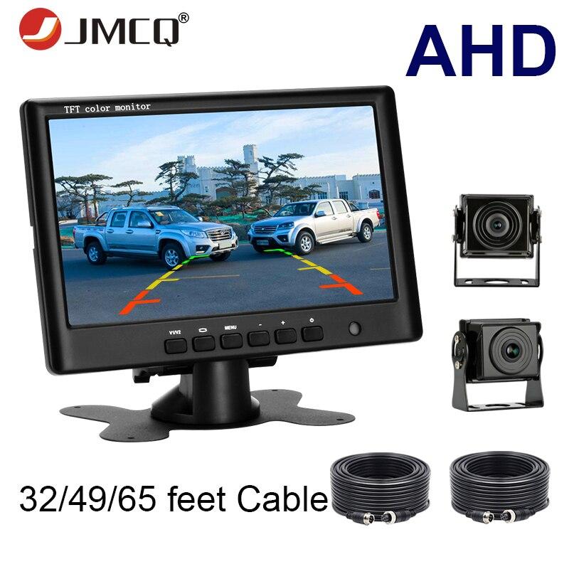 JMCQ ciężarówka samochodów Monitor 7 cal AHD pojazdu dodatkowa kamera cofania System parkowania wizja nocna w świetle gwiazd 12 24V do odbioru Monitory samochodowe    -