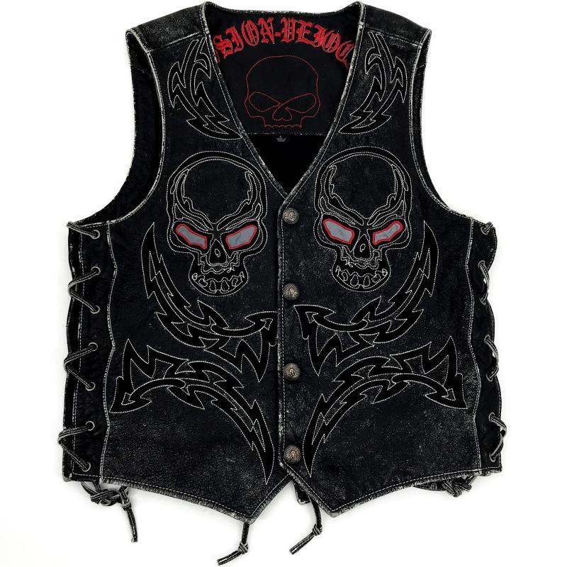 HARLEY DAMSON Vintage สีดำชาย Skulls เย็บปักถักร้อยของแท้ Biker หนัง Vest Plus ขนาด 5XL Slim Fit สั้น Cowhide ขี่เสื้อกั๊ก-ใน เสื้อโค้ทหนังแท้ จาก เสื้อผ้าผู้ชาย บน   1