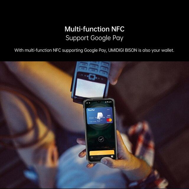 "Umidigi bison 6gb/8gb + 128gb nfc ip68/ip69k telefone áspero impermeável 48mp quad camera 6.3 ""fhd + display android 10 smartphones 3"