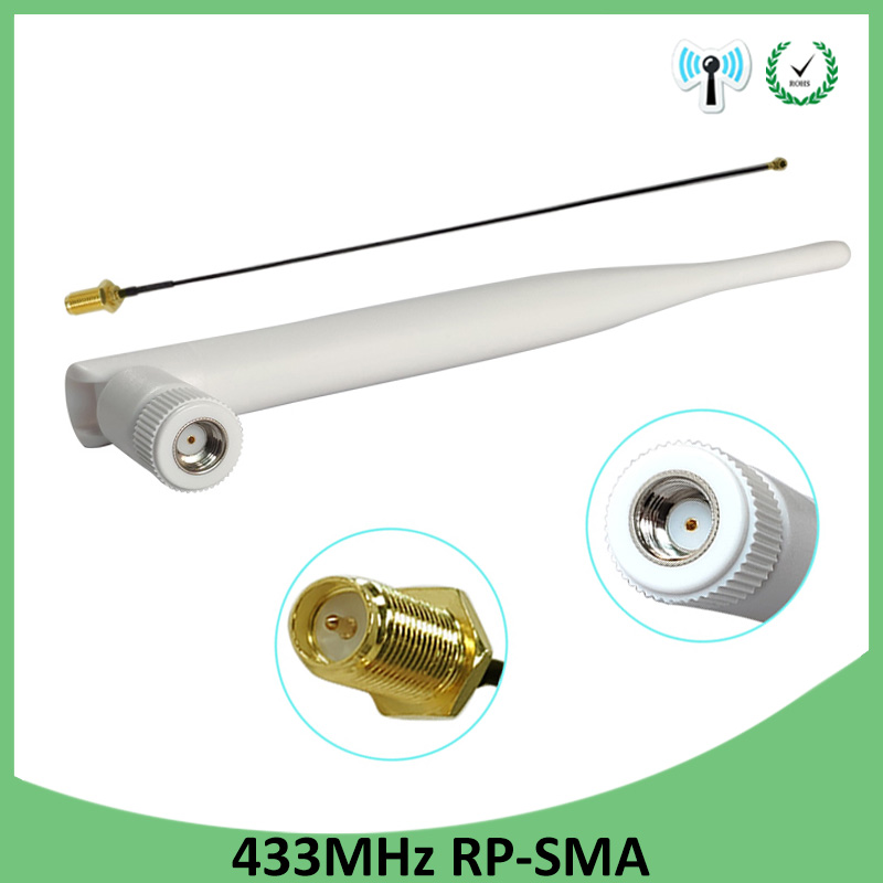 2pcs 433Mhz Antenna 5dbi GSM 433 Mhz RP-SMA  Rubber Waterproof Lorawan Antenna+ IPX To SMA Male Extension Cord Pigtail Cable