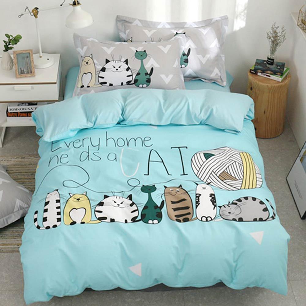 2019 Lovely Cats Green Cartoon Kids Big Pattern Bedding Set Cotton Polyester Twin Size 3Pcs Print Duvet Cover Sheet Pillow Case