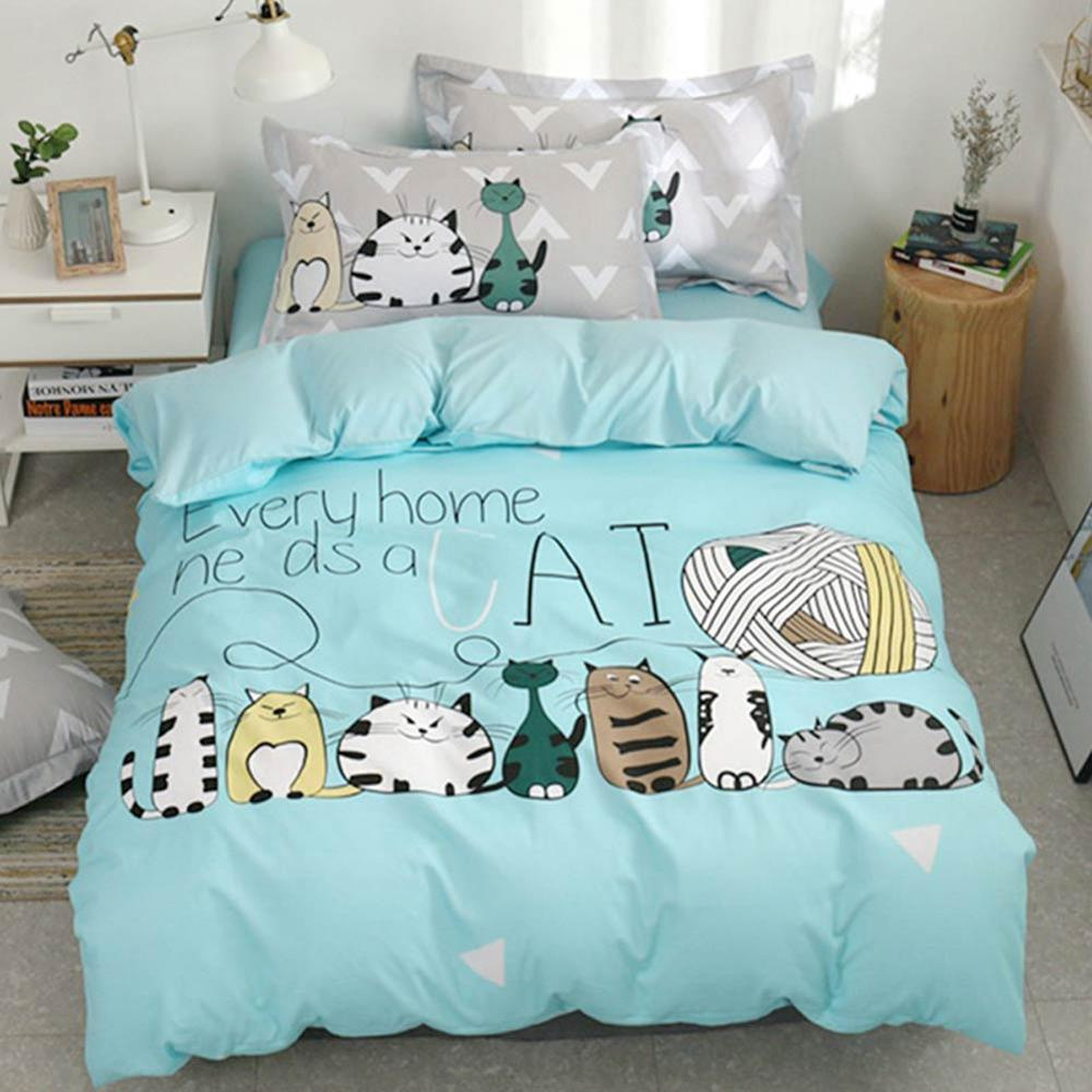 2019 adorável gatos verde dos desenhos animados crianças grande padrão conjunto de cama algodão poliéster twin tamanho 3 pçs impressão capa edredão folha fronha