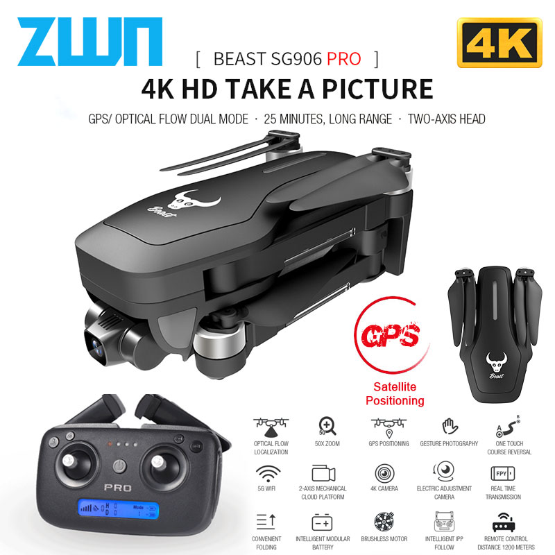 ZWN SG906 / SG906 Pro GPS Drone with Wifi FPV 4K HD Camera Two-axis anti-shake Self-stabilizing Gimbal Brushless Quadcopter Dron