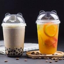50 шт. 90 Калибр u-образные толстые чашки для холодного напитка 400 мл 500 мл 700 мл diposable сок, кофе, молока, чая пластиковая чашка с крышкой