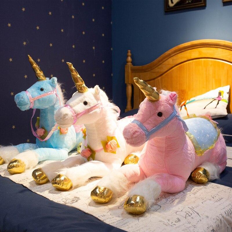 1M géant mignon licorne cheval jouets en peluche énorme Animal en peluche poney poupée photographie accessoires pour enfants cadeau d'anniversaire créatif