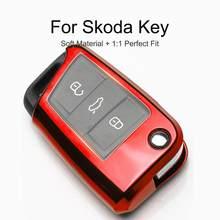 Coque de Protection en TPU pour porte-clés de voiture, pour Skoda Octavia Rapid Yeti Fabia Superb kodiaql