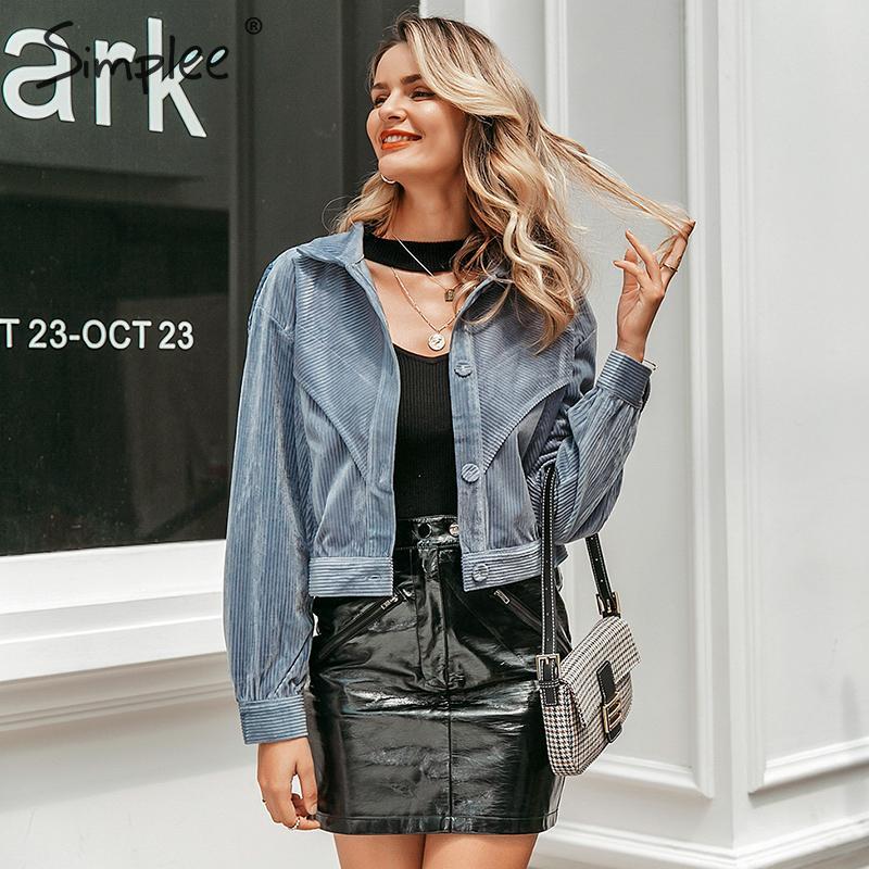 Simplee Casual streetwear women corduroy   jacket   Long sleeve autumn winter female coat Fashion buttons ladies short   basic     jackets
