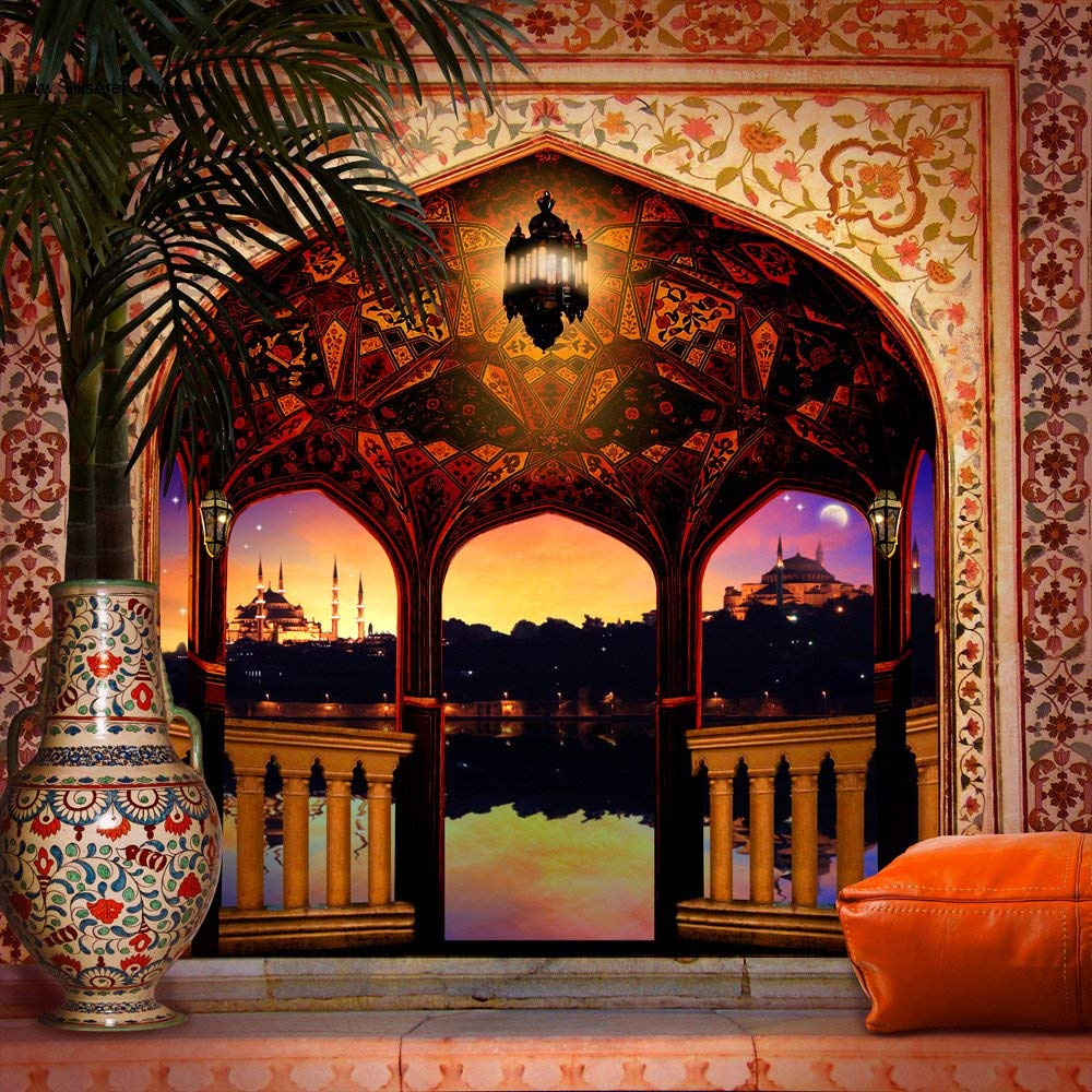 Photo Background Floor Arabian Balcony Palace Night Column Light Palm Tree Backdrops Computer Print Wedding Background image