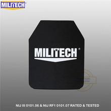 "Militech um pc nij iii + 0101.06/nij 0101.07 rf1 pe puro 10 ""x 12"" balístico corpo painel ak47 suporte sozinho à prova de balas uhmwpe placa"