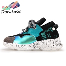 DORATASIA New INS Hot Sale Sweet Girl Genuine Leather Sneakers Women 2019 Autumn Flat Platform Dad Shoes Decorating Footwear