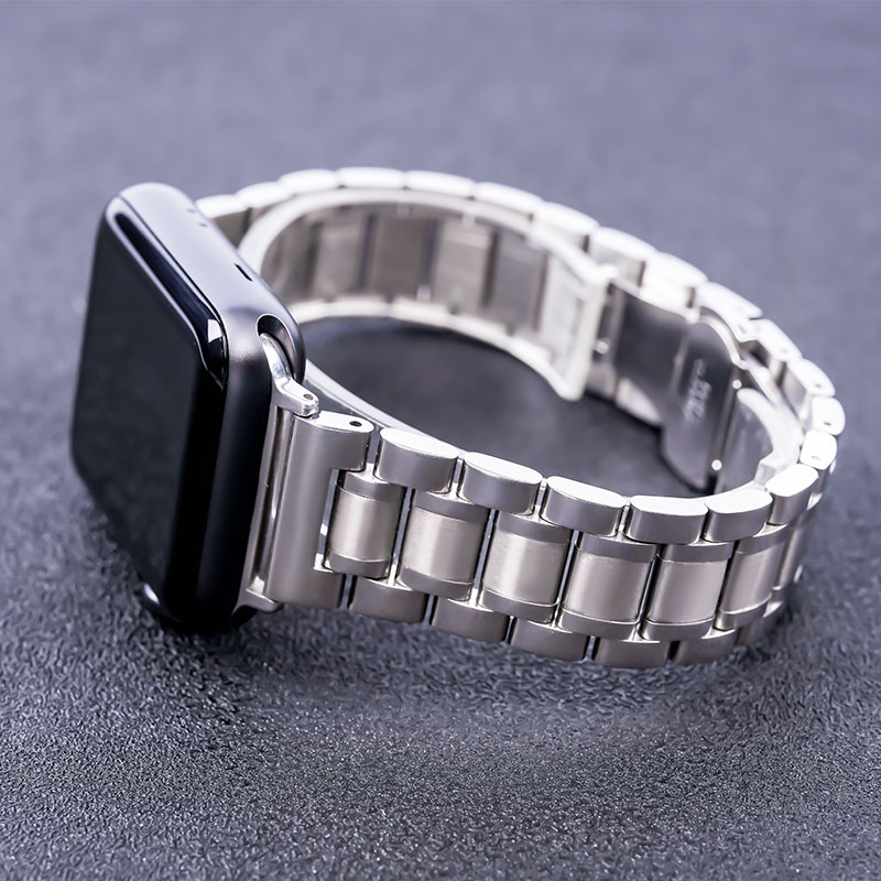 Stainless Steel Watch Band With Automatic Double Clasp 38mm 40mm 42mm 44mm Suitable For Apple Watch Series 2 3 4 5 IWatch Strap
