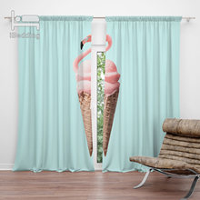 Flamingo Cone Living Room Curtain Curtain POD Customized Photo Polyester Decor(China)