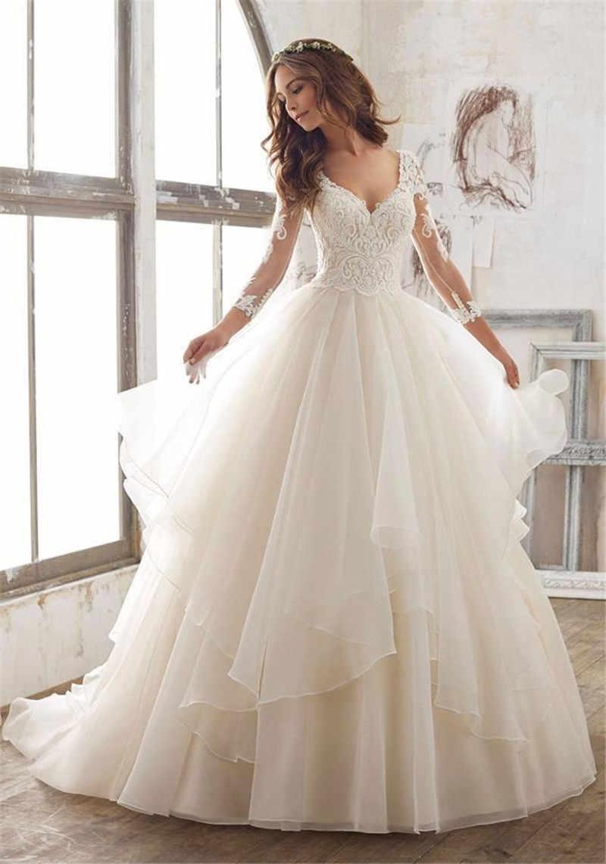 SWEMILE Ball Gown Lace Tiered Wedding Dresses 2019 Robe De Mariee 3/4 Sleeve Bride Dress Sexy Wedding Gowns Vestido De Noiva
