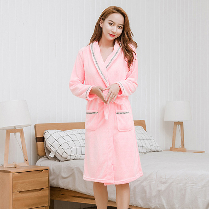 Bathrobe Winter Women Robe Flannel Pyjamas Autumn And Warm Coral Bath Velvet Suit Badjas Female Sleepwear Bridal Robes 2019