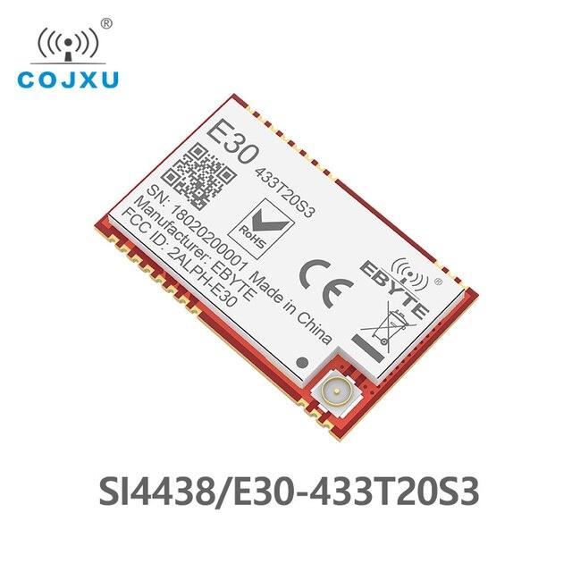 Si4438 433mhz rf módulo tcxo ebyte E30 433T20S3 smd, transmissor sem fio, alcance longo de 100mw 2500m ipex conector