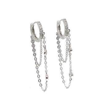 2019 new 925 sterling silver tassell cz round earring elegance women gift jewelry with round cz link chain ear elegant style