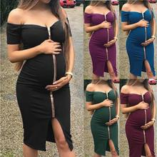 Hot new ladies pregnant solid color comfortable short-sleeve word shoulder zipper sexy dress explosion models maternity