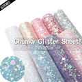 QIBU 22*30cm Chunky Glitter Fabric Soft Synthetic Leather Shiny Bow Materials DIY Earring Bags Accessories A4 Hairbow Decoration