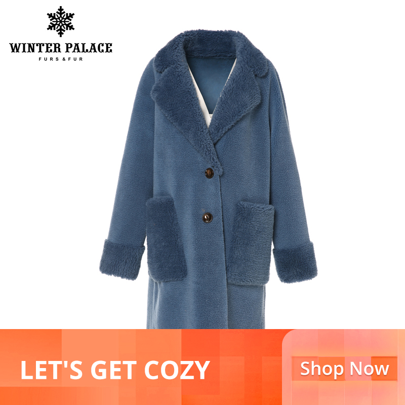 WINTER PALACE 2019 W0men's New W00l C0at Long Suit Collar With 30% W00l Winter Warm Classic Style Fur C0at W00l Blend Multiple C