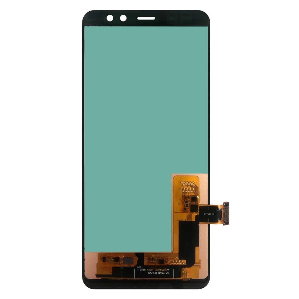 سوبر OLED شاشات LCD لسامسونج غالاكسي A8 2018 A530 SM-A530F A530DS A530N شاشة تعمل باللمس + محول الأرقام شاشة الكريستال السائل الجمعية مع الإطار LCD