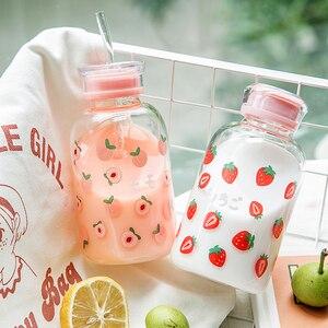 450 мл креативная простая бутылка для воды из фруктового стекла с соломенной мультяшной милой портативной круглой прозрачной стеклянной бут...