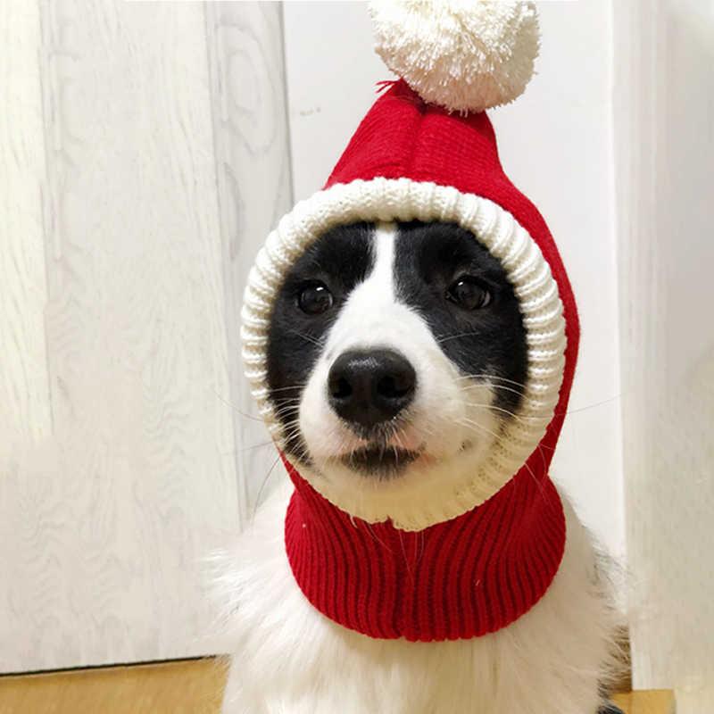 Lavorato a maglia Cappello Animale Domestico Del Cane di Natale Cap Caldo di Inverno Del Cane Cappelli per Cani Gatti Accessori di Lana Francese Bulldog Caps per I Cani nuovo Anno Cappelli