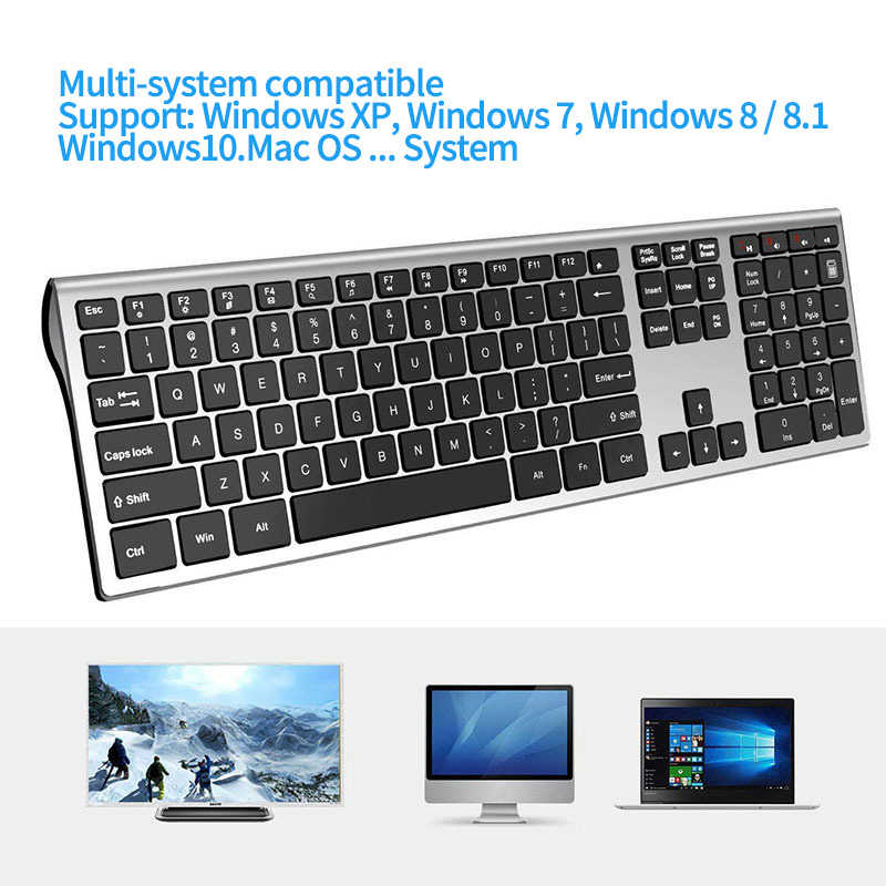 Seenda 2.4G Draadloze Toetsenbord Muis Combo Voor Laptop Desktop Schaar Schakelaar Toetsenbord Set Voor Windows Full Size Toetsenbord