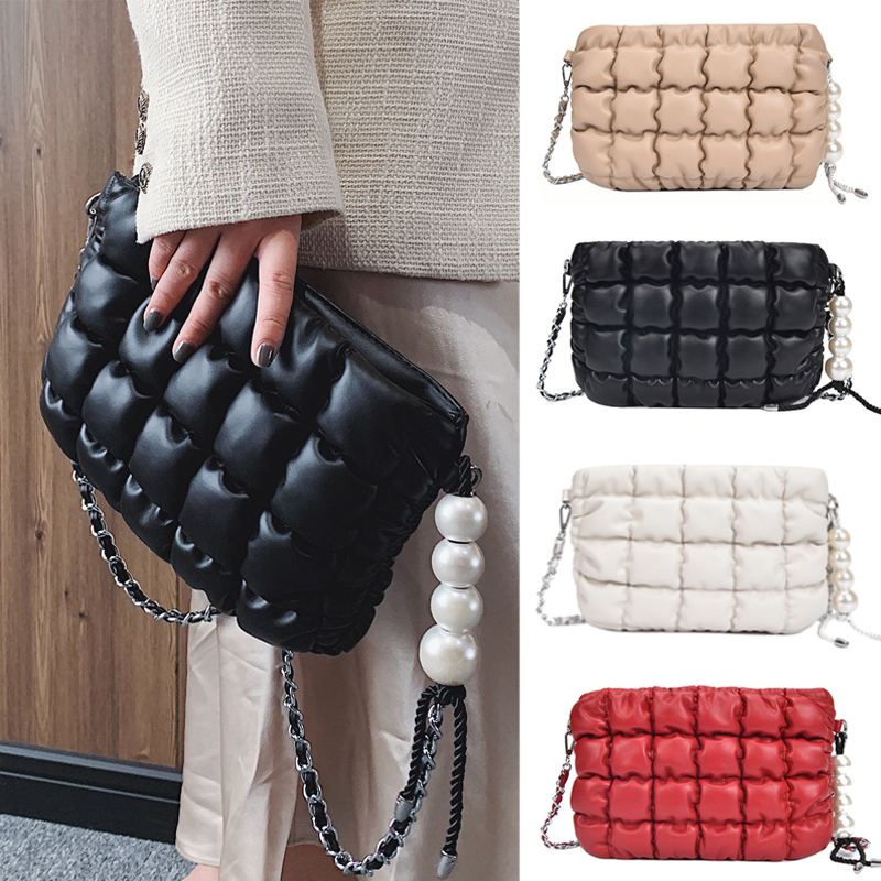 Female Bags Purses And Handbags Pearl Clutch Bag Puff Quilted Leather PU Shoulder Bags Crossbody Chain Bag Luxury Handbags Black