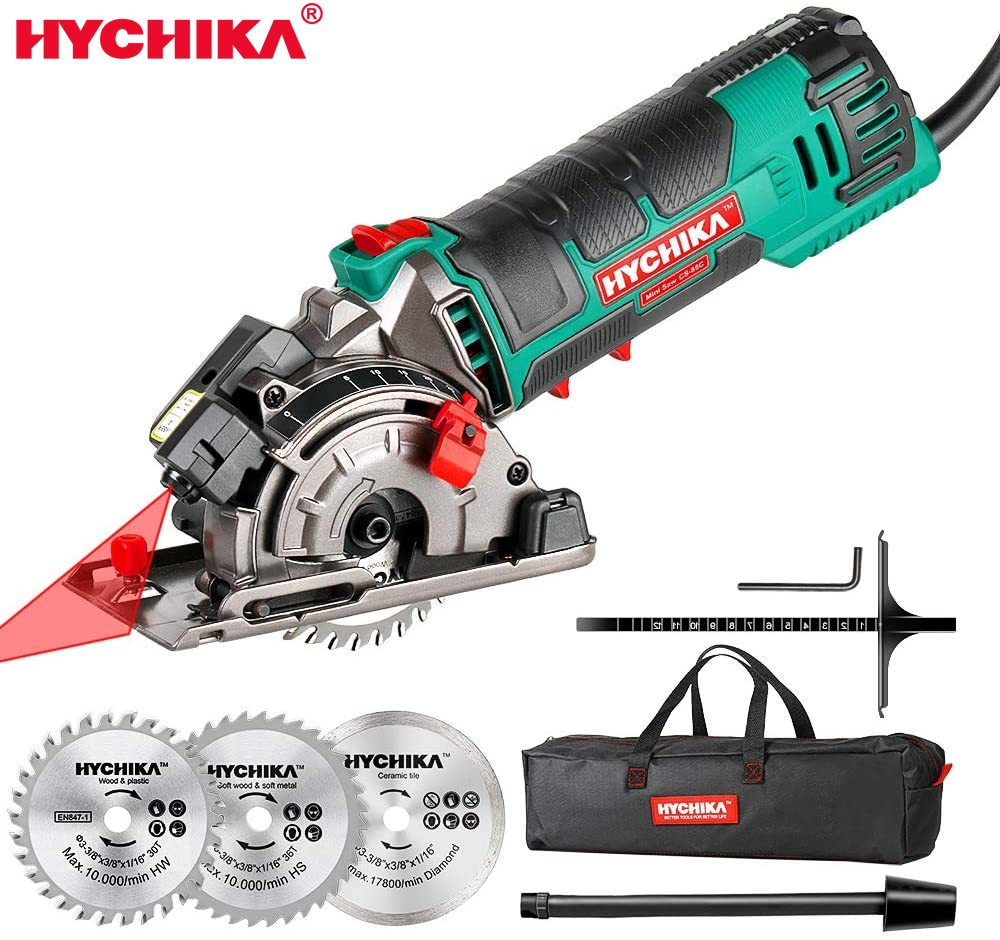 HYCHIKA 5000W Electric Mini Circular Saw With Laser 120V Multifunctional Electric Saw DIY Power Tool For Cut Wood,PVC Tube