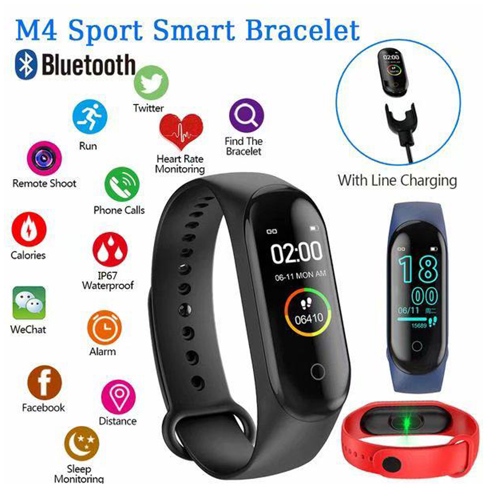 M4 Smart Sports Pedometers Watch Heart Rate Blood Pressure Fitness Tracker For Android IOS
